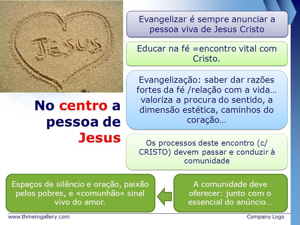 www.thmemgallery.comCompany Logo No centro a pessoa de Jesus Evangelizar é sempre anunciar a pessoa viva de Jesus Cristo Educar na fé =encontro vital
