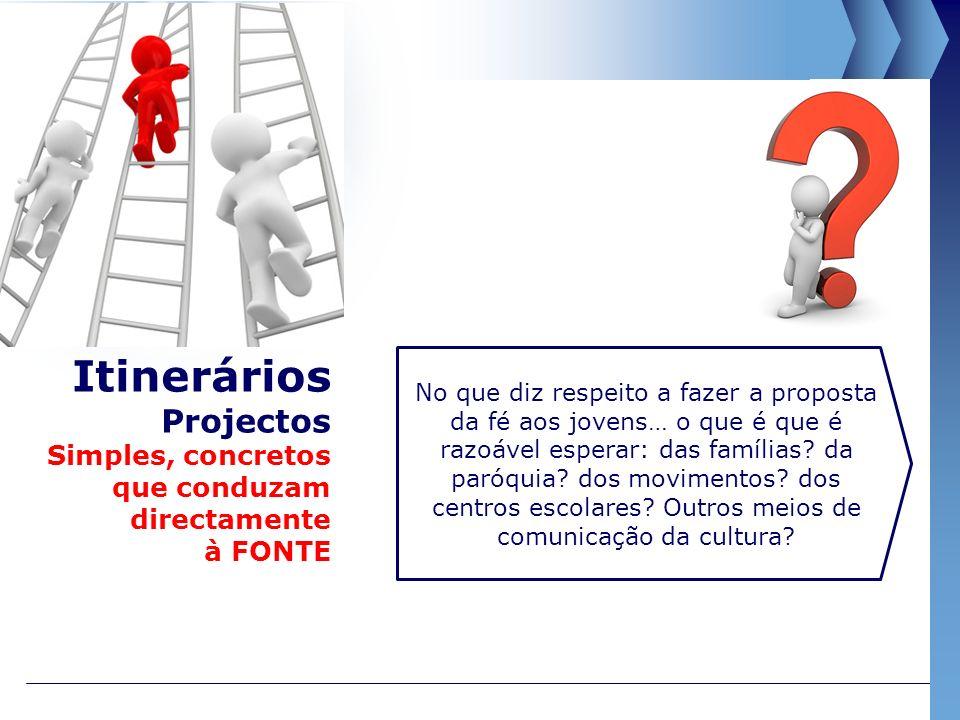 Itinerários Projectos Simples, concretos que conduzam directamente à FONTE No que diz respeito a fazer a proposta da fé aos jovens… o que é que é razoável esperar: das famílias.