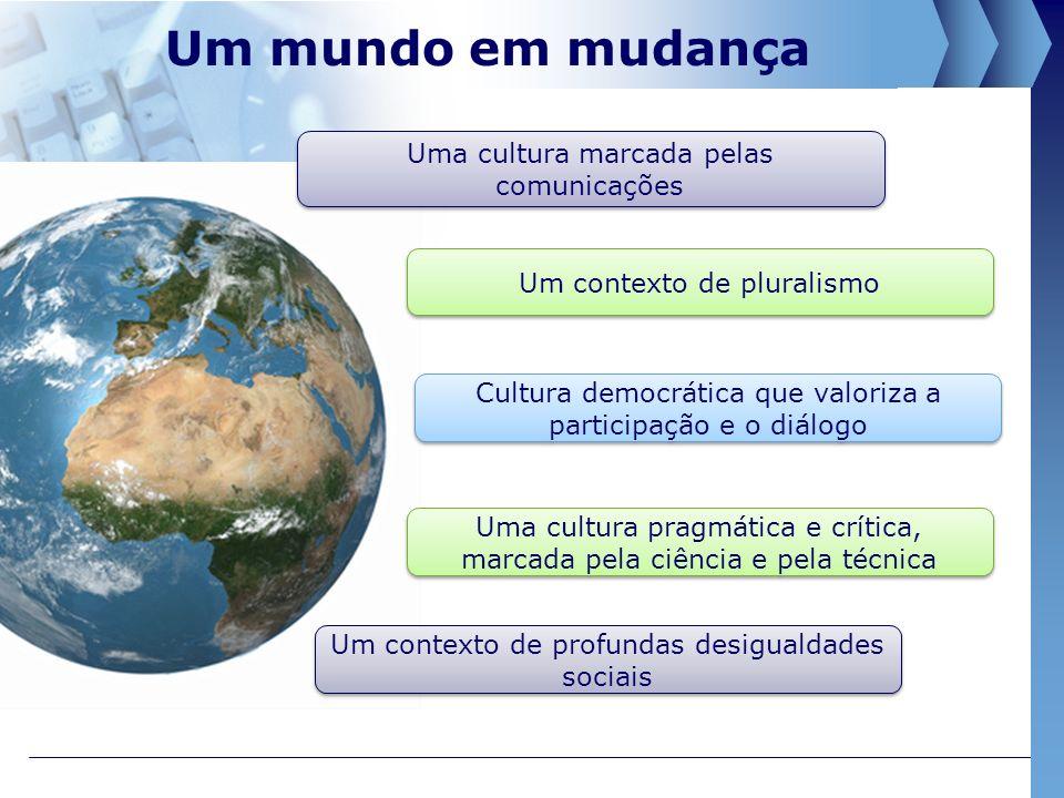 Um mundo em mudança Uma cultura marcada pelas comunicações Um contexto de pluralismo Uma cultura pragmática e crítica, marcada pela ciência e pela técnica Cultura democrática que valoriza a participação e o diálogo Um contexto de profundas desigualdades sociais
