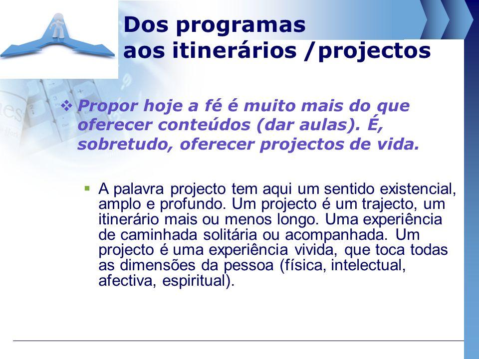 Dos programas aos itinerários /projectos Propor hoje a fé é muito mais do que oferecer conteúdos (dar aulas). É, sobretudo, oferecer projectos de vida