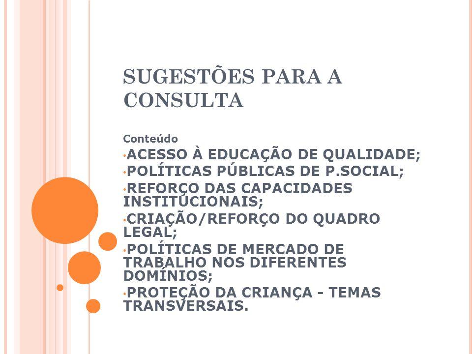 SUGESTÕES PARA A CONSULTA Conteúdo ACESSO À EDUCAÇÃO DE QUALIDADE; POLÍTICAS PÚBLICAS DE P.SOCIAL; REFORÇO DAS CAPACIDADES INSTITUCIONAIS; CRIAÇÃO/REFORÇO DO QUADRO LEGAL; POLÍTICAS DE MERCADO DE TRABALHO NOS DIFERENTES DOMÍNIOS; PROTEÇÃO DA CRIANÇA - TEMAS TRANSVERSAIS.