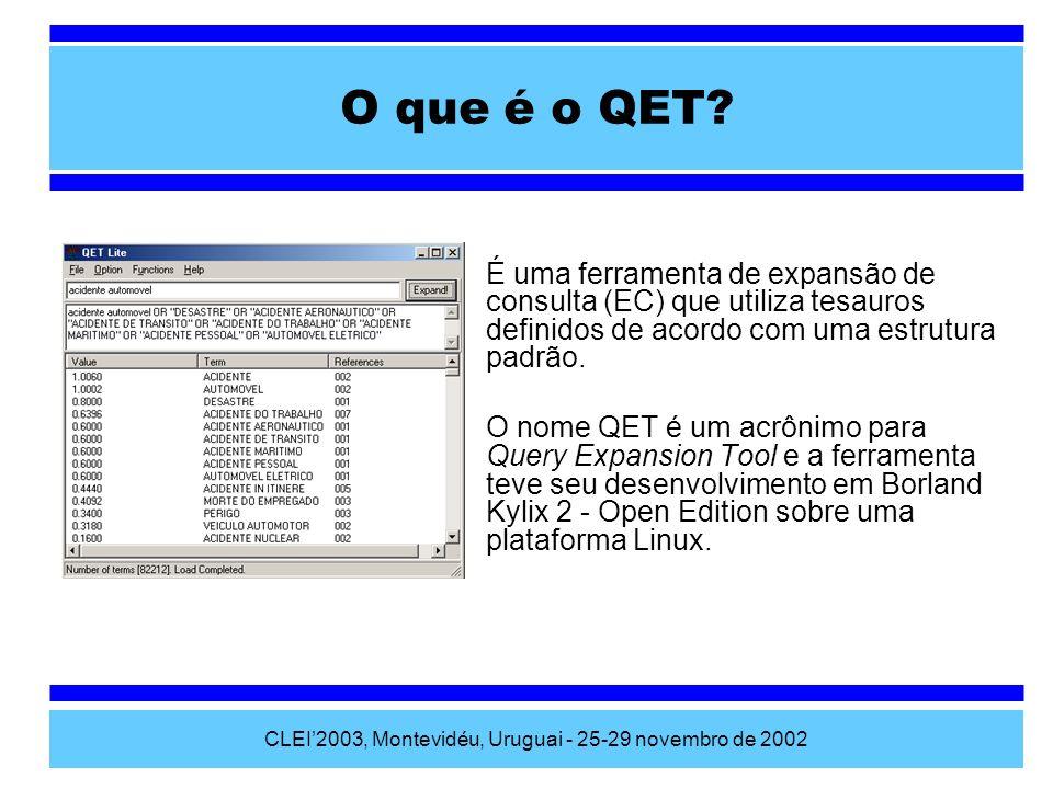 CLEI2003, Montevidéu, Uruguai - 25-29 novembro de 2002 É uma ferramenta de expansão de consulta (EC) que utiliza tesauros definidos de acordo com uma