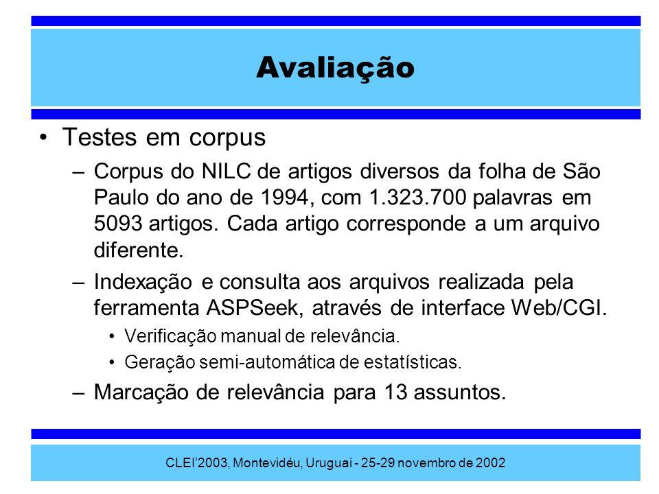 CLEI2003, Montevidéu, Uruguai - 25-29 novembro de 2002 Testes em corpus –Corpus do NILC de artigos diversos da folha de São Paulo do ano de 1994, com