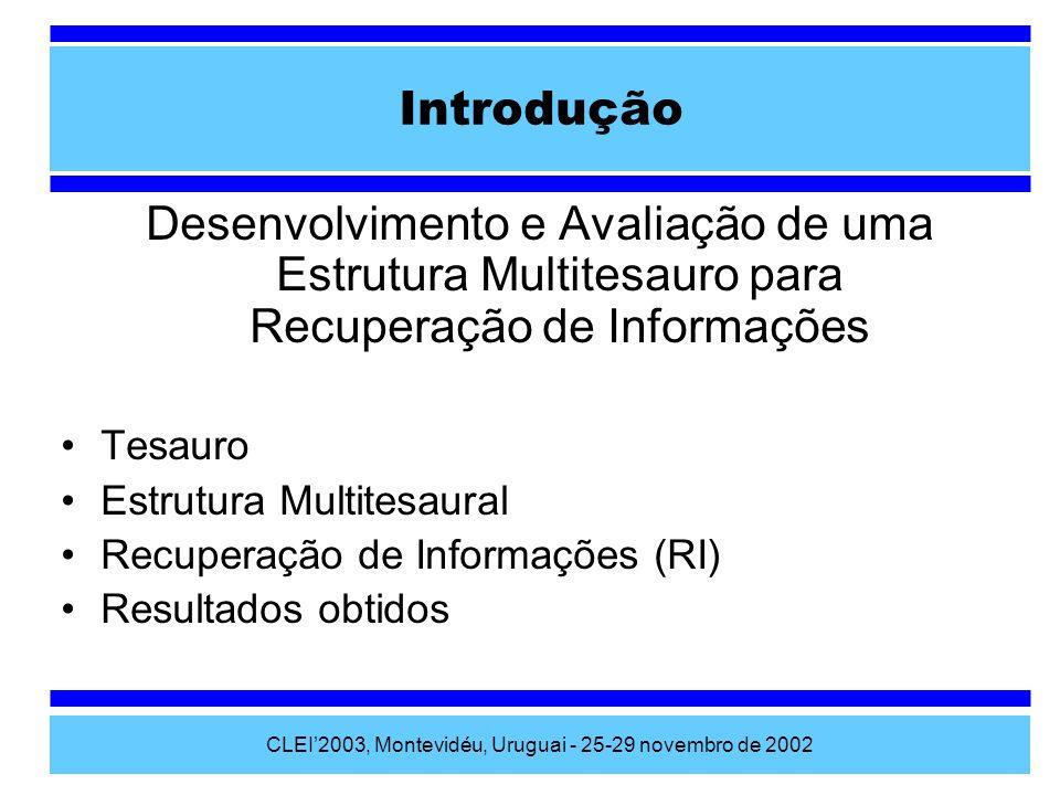 CLEI2003, Montevidéu, Uruguai - 25-29 novembro de 2002 Medidas de avaliação Precisão: Recall: F-Measure: Corpus ac b Documentos Relevantes Documentos Recuperados