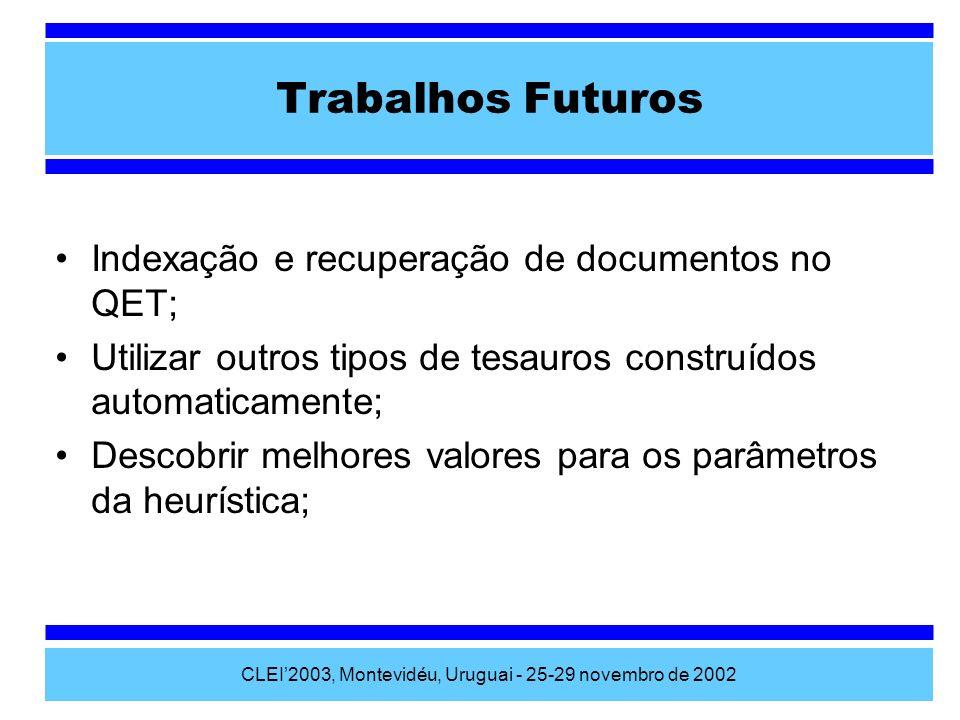CLEI2003, Montevidéu, Uruguai - 25-29 novembro de 2002 Trabalhos Futuros Indexação e recuperação de documentos no QET; Utilizar outros tipos de tesaur