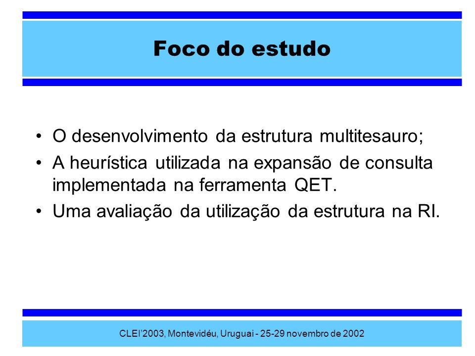 CLEI2003, Montevidéu, Uruguai - 25-29 novembro de 2002 O desenvolvimento da estrutura multitesauro; A heurística utilizada na expansão de consulta imp