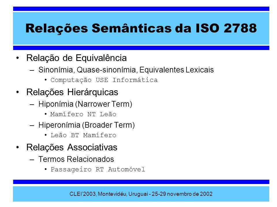 CLEI2003, Montevidéu, Uruguai - 25-29 novembro de 2002 Relações Semânticas da ISO 2788 Relação de Equivalência –Sinonímia, Quase-sinonímia, Equivalent