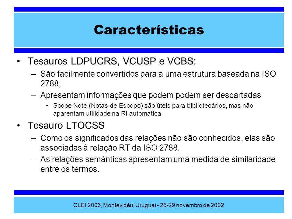 CLEI2003, Montevidéu, Uruguai - 25-29 novembro de 2002 Características Tesauros LDPUCRS, VCUSP e VCBS: –São facilmente convertidos para a uma estrutur