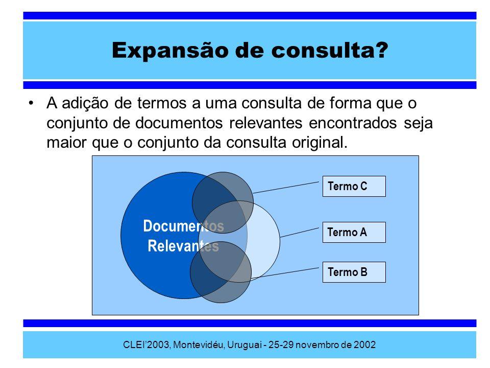 CLEI2003, Montevidéu, Uruguai - 25-29 novembro de 2002 Considerações A estrutura tesaural desenvolvida possibilita a utilização conjunta de diferentes tipos de tesauros e demonstrou sua utilidade na RI através do método de expansão de consultas desenvolvido.