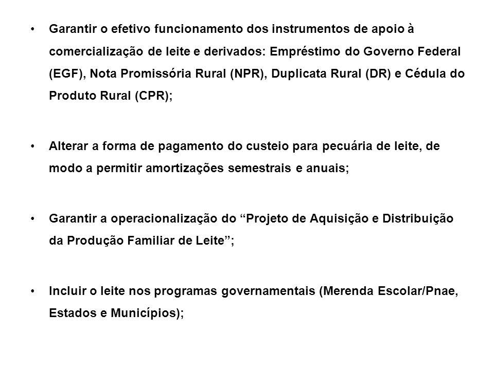 Garantir o efetivo funcionamento dos instrumentos de apoio à comercialização de leite e derivados: Empréstimo do Governo Federal (EGF), Nota Promissória Rural (NPR), Duplicata Rural (DR) e Cédula do Produto Rural (CPR); Alterar a forma de pagamento do custeio para pecuária de leite, de modo a permitir amortizações semestrais e anuais; Garantir a operacionalização do Projeto de Aquisição e Distribuição da Produção Familiar de Leite; Incluir o leite nos programas governamentais (Merenda Escolar/Pnae, Estados e Municípios);