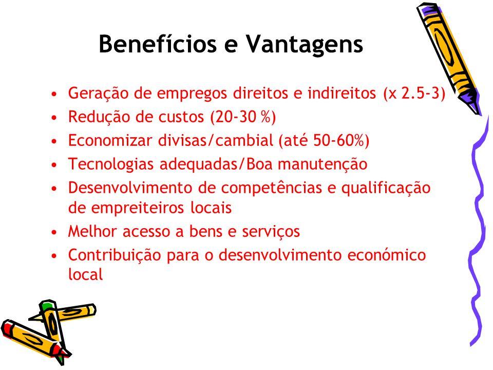 Benefícios e Vantagens Experiência de Moçambique: 200 operários podem fazer o mesmo trabalho que uma escavadora
