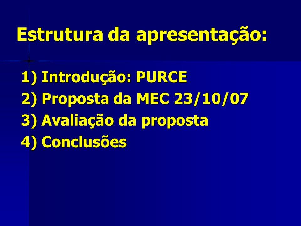 Estrutura da apresentação: 1) Introdução: PURCE 2) Proposta da MEC 23/10/07 3) Avaliação da proposta 4) Conclusões
