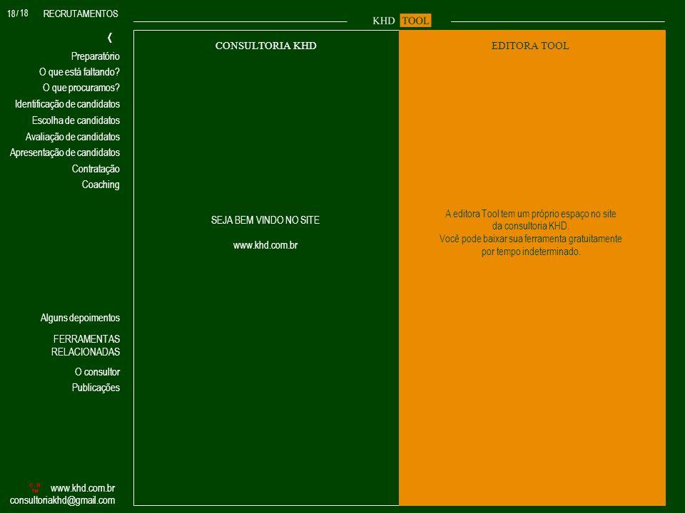 RECRUTAMENTOS O que procuramos? Identificação de candidatos Avaliação de candidatos Escolha de candidatos O que está faltando? www.khd.com.br consulto