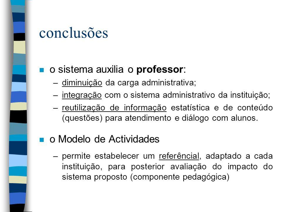 conclusões n o sistema auxilia o professor: –diminuição da carga administrativa; –integração com o sistema administrativo da instituição; –reutilização de informação estatística e de conteúdo (questões) para atendimento e diálogo com alunos.