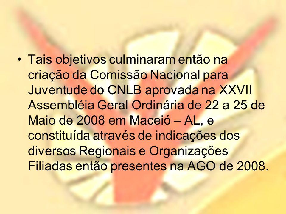 Tais objetivos culminaram então na criação da Comissão Nacional para Juventude do CNLB aprovada na XXVII Assembléia Geral Ordinária de 22 a 25 de Maio de 2008 em Maceió – AL, e constituída através de indicações dos diversos Regionais e Organizações Filiadas então presentes na AGO de 2008.