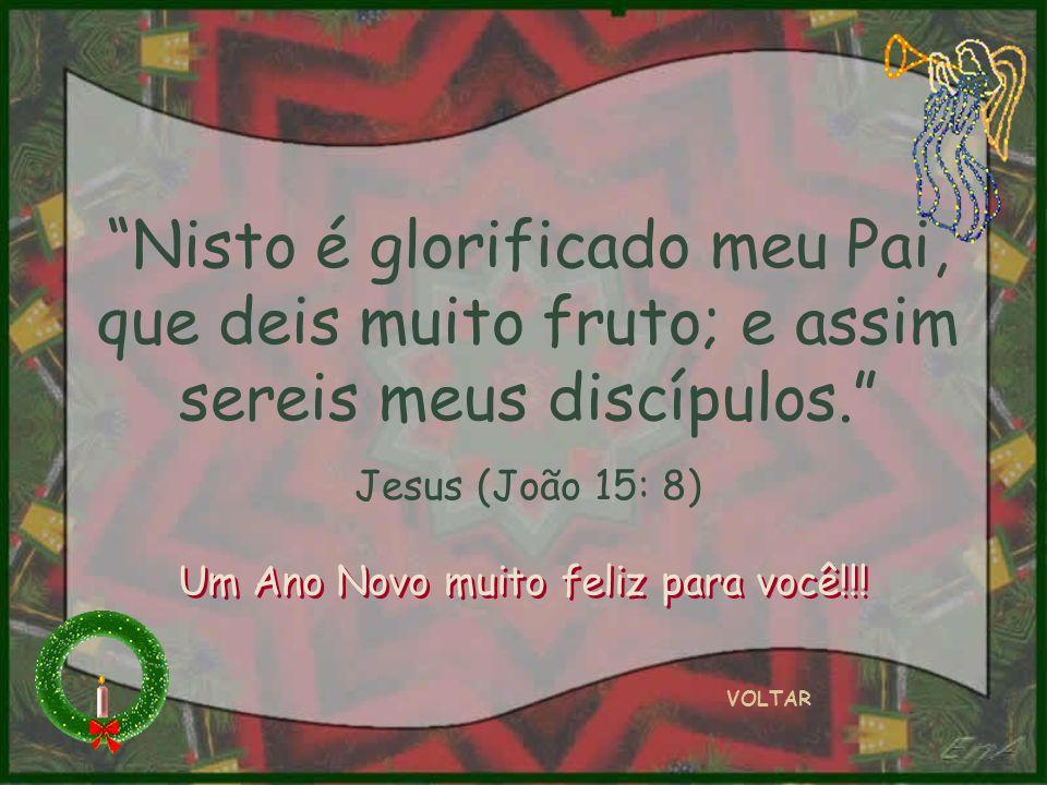 Nisto é glorificado meu Pai, que deis muito fruto; e assim sereis meus discípulos. Jesus (João 15: 8) VOLTAR Um Ano Novo muito feliz para você!!!