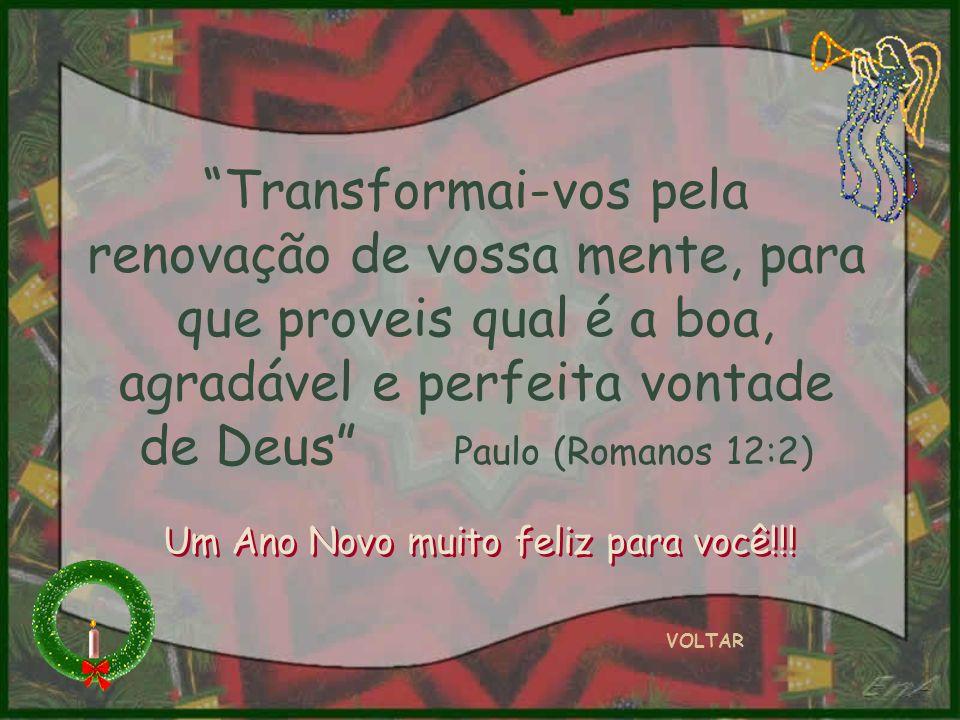 VOLTAR Transformai-vos pela renovação de vossa mente, para que proveis qual é a boa, agradável e perfeita vontade de Deus Paulo (Romanos 12:2) Um Ano