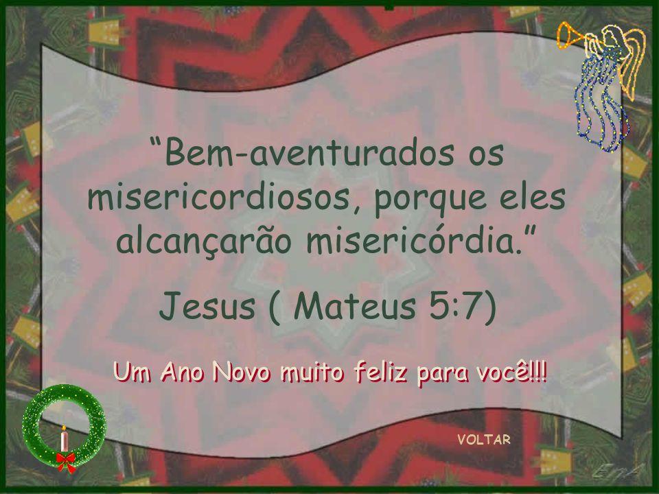 Bem-aventurados os misericordiosos, porque eles alcançarão misericórdia. Jesus ( Mateus 5:7) VOLTAR Um Ano Novo muito feliz para você!!!