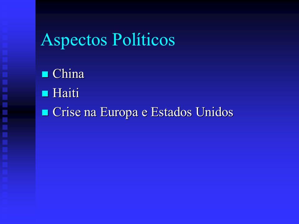 Aspectos Políticos China China Haiti Haiti Crise na Europa e Estados Unidos Crise na Europa e Estados Unidos