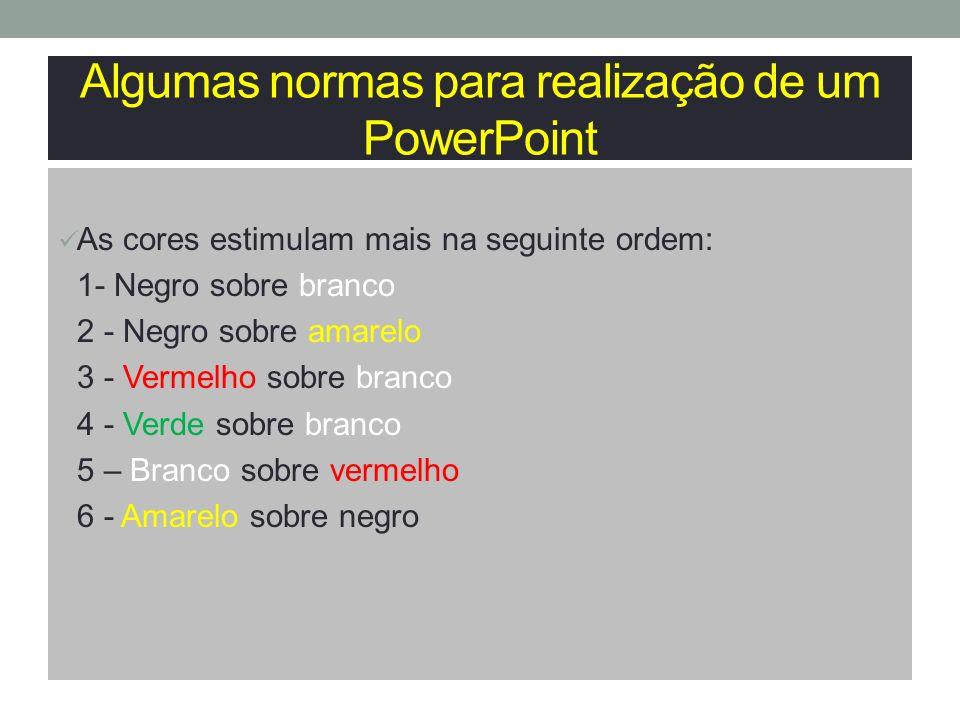 Algumas normas para realização de um PowerPoint 7 - Branco sobre azul 8 - Branco sobre verde 9 - Vermelho sobre amarelo 10 - Azul sobre negro 11 – Branco sobre preto 12 - Verde sobre vermelho