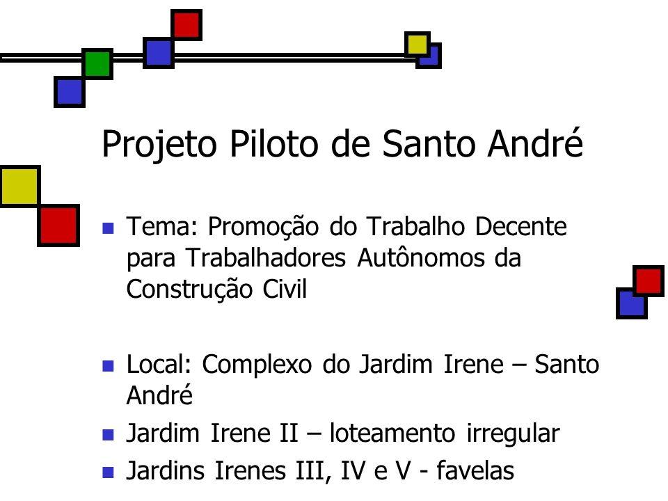 Projeto Piloto de Santo André Tema: Promoção do Trabalho Decente para Trabalhadores Autônomos da Construção Civil Local: Complexo do Jardim Irene – Sa