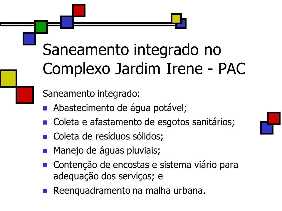 Saneamento integrado no Complexo Jardim Irene - PAC Saneamento integrado: Abastecimento de água potável; Coleta e afastamento de esgotos sanitários; C