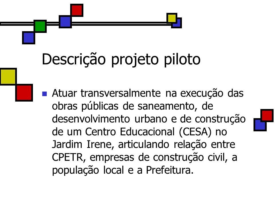 Descrição projeto piloto Atuar transversalmente na execução das obras públicas de saneamento, de desenvolvimento urbano e de construção de um Centro E