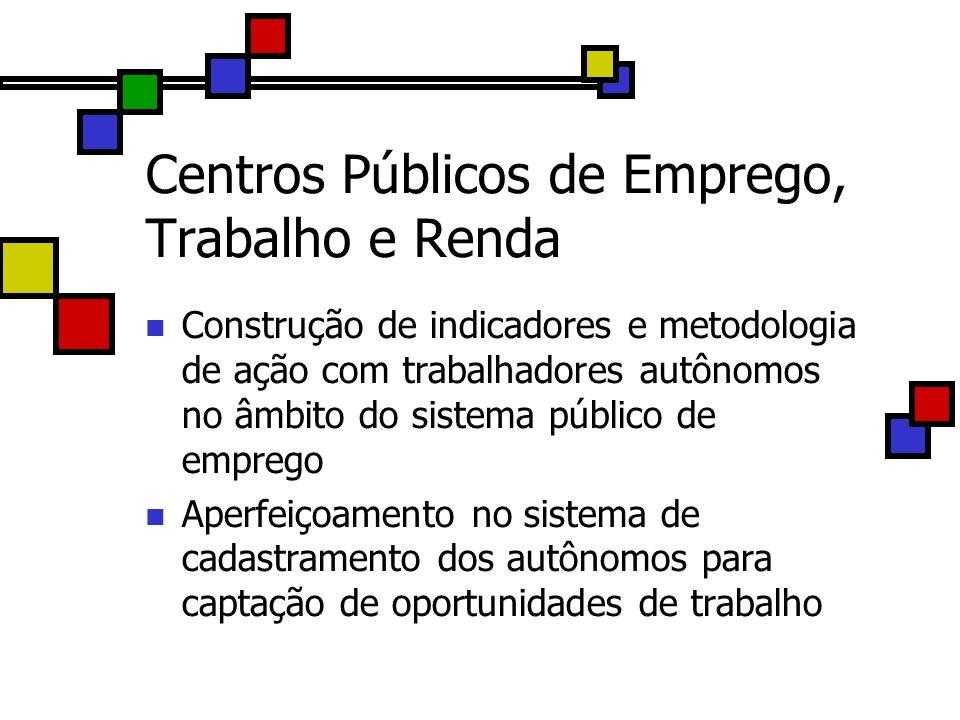 Centros Públicos de Emprego, Trabalho e Renda Construção de indicadores e metodologia de ação com trabalhadores autônomos no âmbito do sistema público