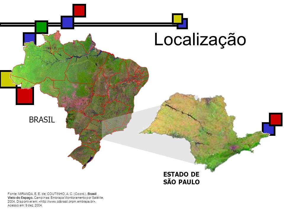 BRASIL ESTADO DE SÃO PAULO Fonte: MIRANDA, E. E. de; COUTINHO, A. C. (Coord.). Brasil Visto do Espaço. Campinas: Embrapa Monitoramento por Satélite, 2