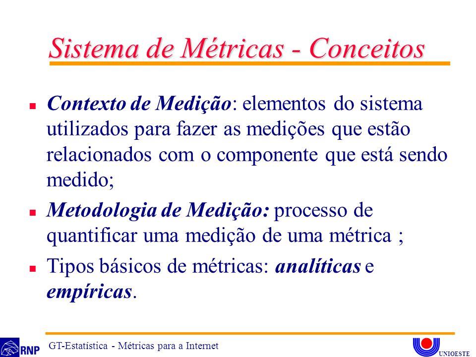n Contexto de Medição: elementos do sistema utilizados para fazer as medições que estão relacionados com o componente que está sendo medido; n Metodologia de Medição: processo de quantificar uma medição de uma métrica ; n Tipos básicos de métricas: analíticas e empíricas.