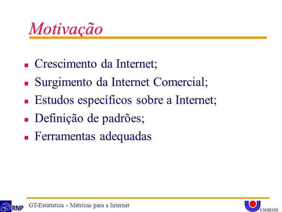 Motivação n Crescimento da Internet; n Surgimento da Internet Comercial; n Estudos específicos sobre a Internet; n Definição de padrões; n Ferramentas adequadas GT-Estatística - Métricas para a Internet UNIOESTE