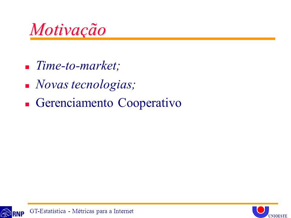 Motivação n Time-to-market; n Novas tecnologias; n Gerenciamento Cooperativo GT-Estatística - Métricas para a Internet UNIOESTE