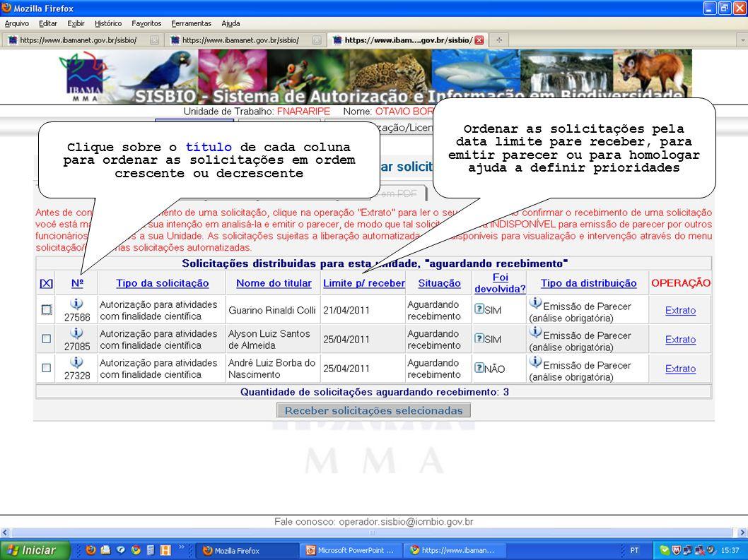 Clique sobre o título de cada coluna para ordenar as solicitações em ordem crescente ou decrescente Ordenar as solicitações pela data limite pare rece