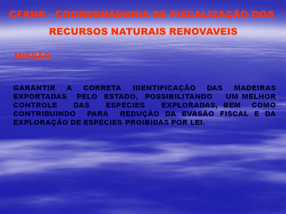CFRNR - COORDENADORIA DE FISCALIZAÇÃO DOS RECURSOS NATURAIS RENOVAVEIS MISSÃO: GARANTIR A CORRETA IDENTIFICAÇÃO DAS MADEIRAS EXPORTADAS PELO ESTADO, P