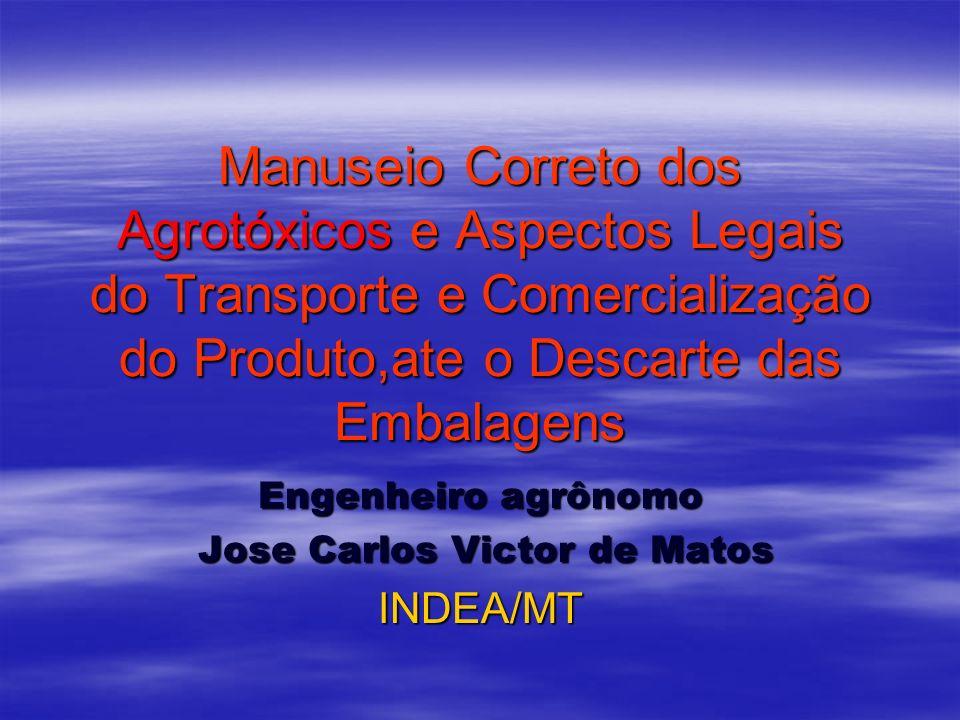 Manuseio Correto dos Agrotóxicos e Aspectos Legais do Transporte e Comercialização do Produto,ate o Descarte das Embalagens Engenheiro agrônomo Jose C