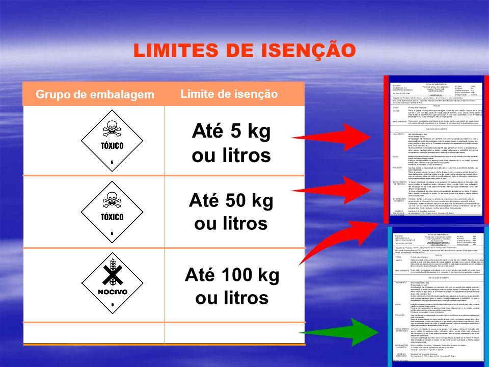 LIMITES DE ISENÇÃO Grupo de embalagem Limite de isenção I II III NAO PERIGOSO Até 5 kg ou litros Até 50 kg ou litros Até 100 kg ou litros SEM LIMITE