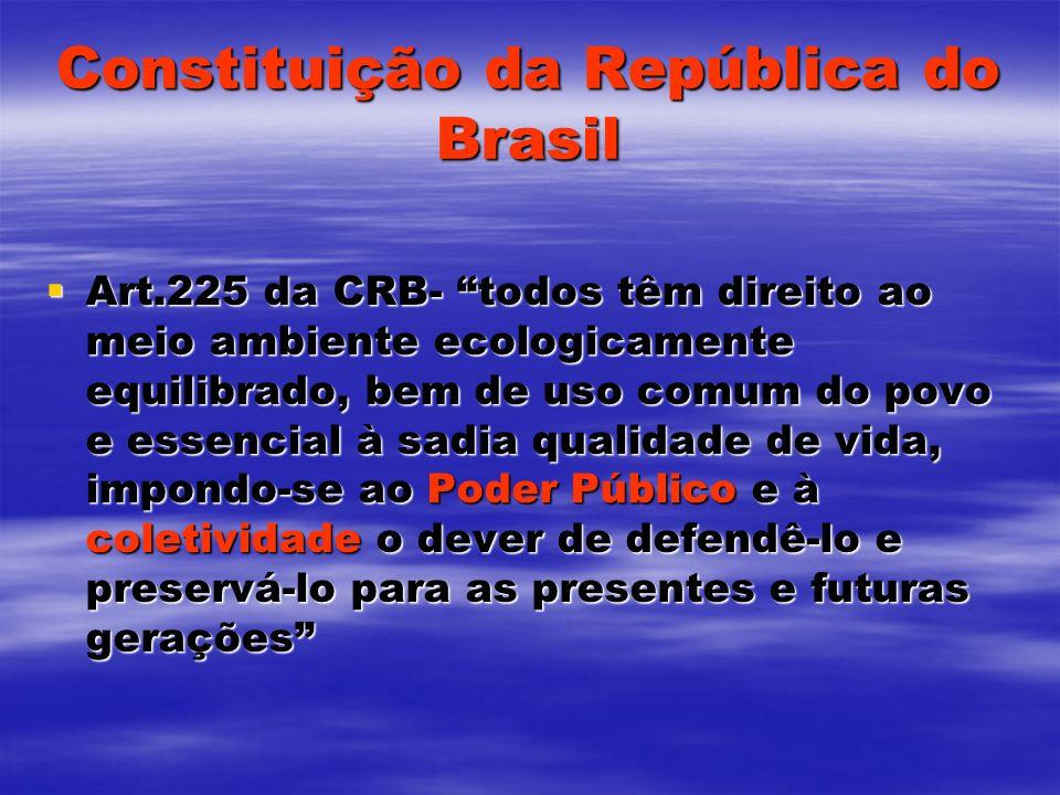 Constituição da República do Brasil Art.225 da CRB- todos têm direito ao meio ambiente ecologicamente equilibrado, bem de uso comum do povo e essencia
