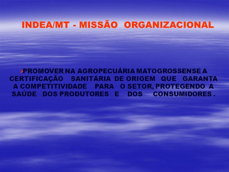 INDEA/MT - MISSÃO ORGANIZACIONAL PROMOVER NA AGROPECUÁRIA MATOGROSSENSE A CERTIFICAÇÃO SANITÁRIA DE ORIGEM QUE GARANTA A COMPETITIVIDADE PARA O SETOR,