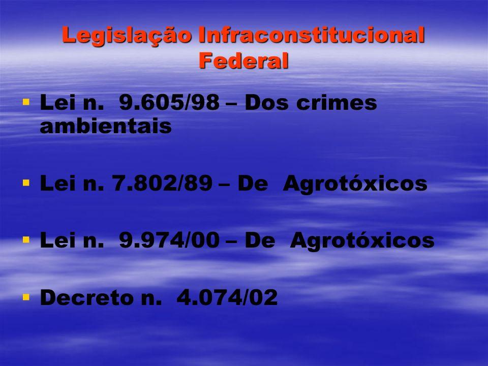 Legislação Infraconstitucional Federal Lei n. 9.605/98 – Dos crimes ambientais Lei n. 7.802/89 – De Agrotóxicos Lei n. 9.974/00 – De Agrotóxicos Decre