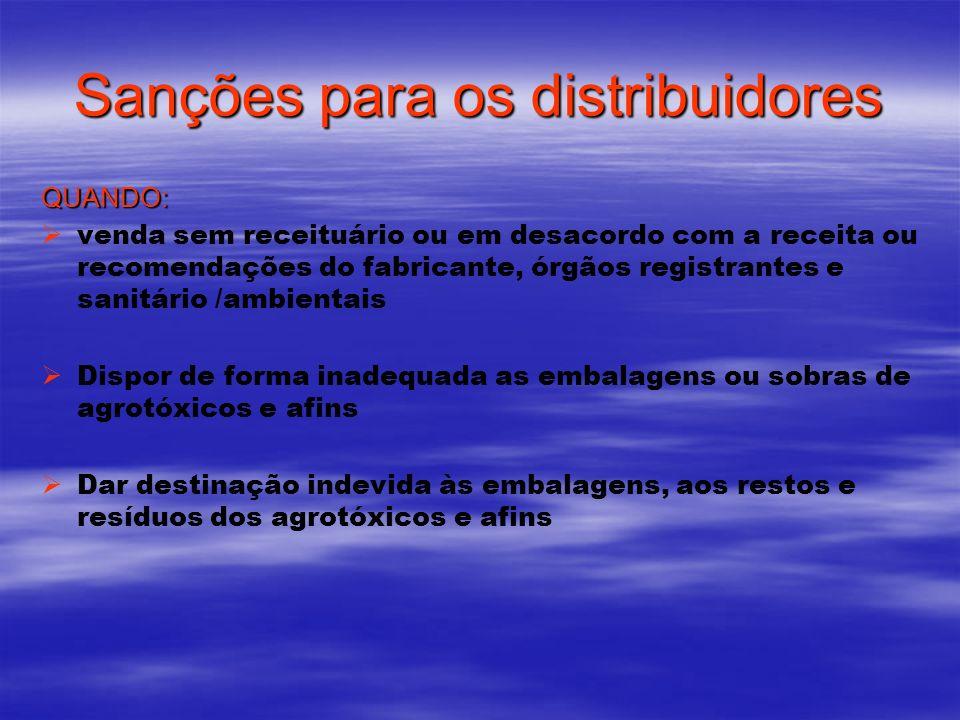Sanções para os distribuidores QUANDO: venda sem receituário ou em desacordo com a receita ou recomendações do fabricante, órgãos registrantes e sanit