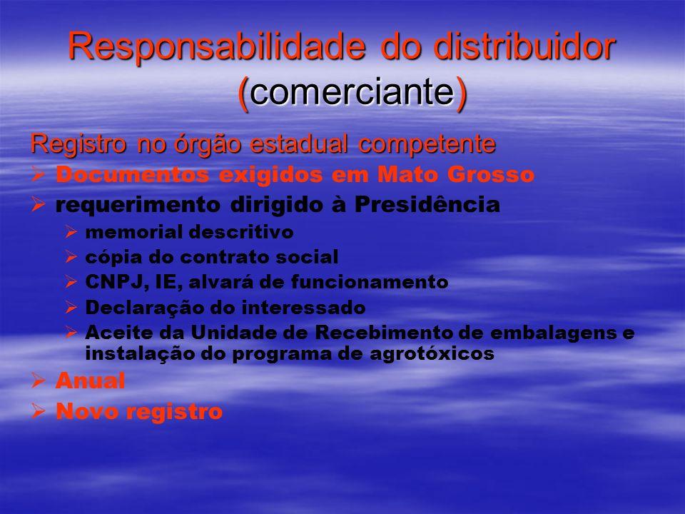 Responsabilidade do distribuidor (comerciante) Registro no órgão estadual competente Documentos exigidos em Mato Grosso requerimento dirigido à Presid