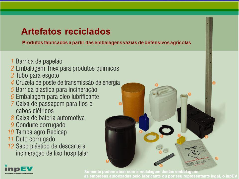 Artefatos reciclados Produtos fabricados a partir das embalagens vazias de defensivos agrícolas Somente podem atuar com a reciclagem destas embalagens