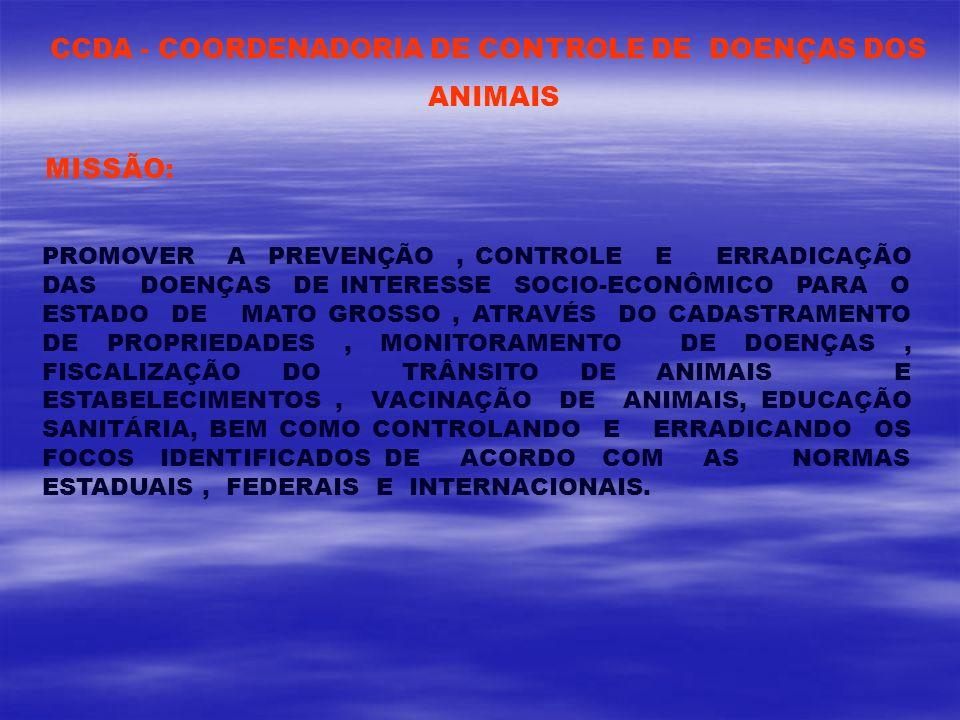 CCDA - COORDENADORIA DE CONTROLE DE DOENÇAS DOS ANIMAIS MISSÃO: PROMOVER A PREVENÇÃO, CONTROLE E ERRADICAÇÃO DAS DOENÇAS DE INTERESSE SOCIO-ECONÔMICO