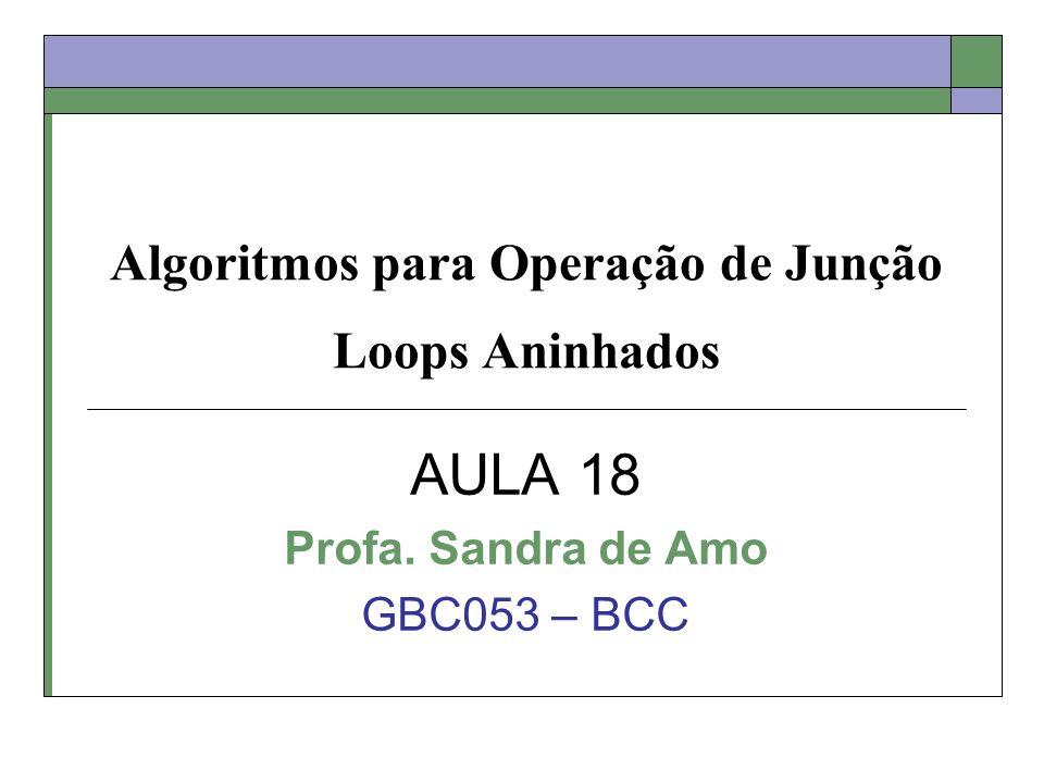 Algoritmos para Operação de Junção Loops Aninhados AULA 18 Profa. Sandra de Amo GBC053 – BCC