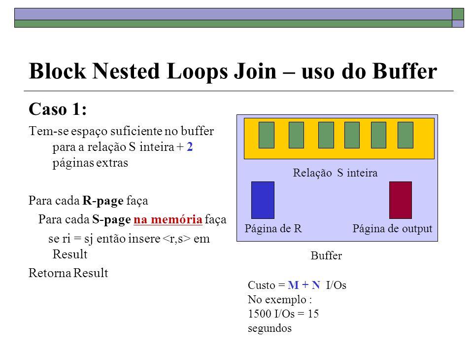 Block Nested Loops Join – uso do Buffer Caso 2: Tem-se espaço suficiente no buffer para B - 2 páginas da relação R + 2 páginas extras Para cada bloco de (B-2) páginas in memory de R faça Para cada S-page faça se ri = sj então insere em Result Retorna Result Bloco de B-2 páginas de R Buffer tem capacidade para B páginas Página de SPágina de output