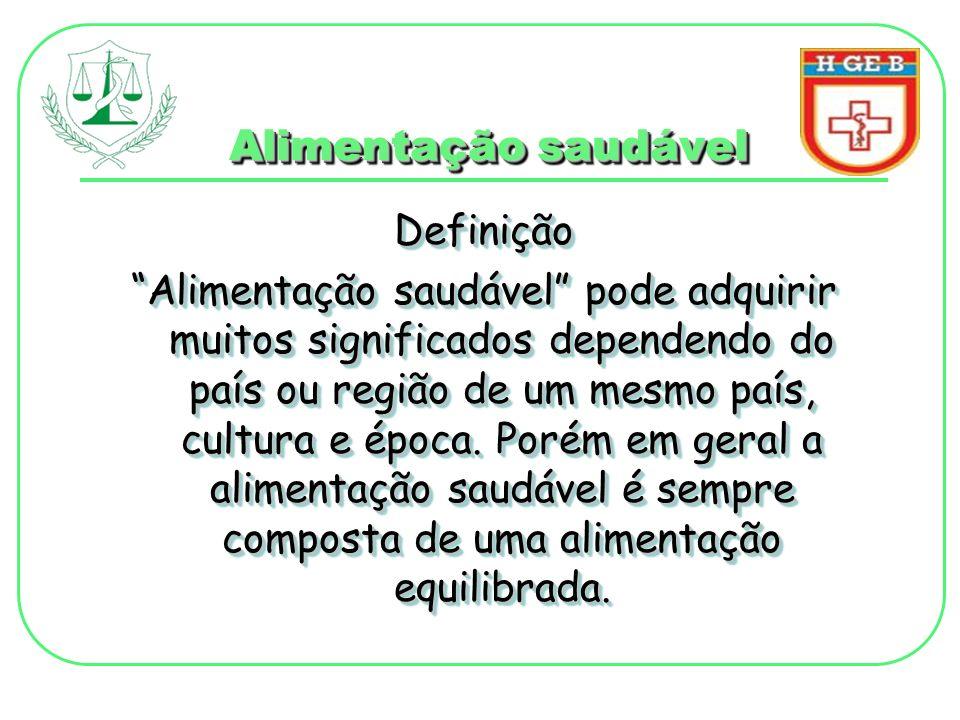 Alimentação saudável Definição Alimentação saudável pode adquirir muitos significados dependendo do país ou região de um mesmo país, cultura e época.