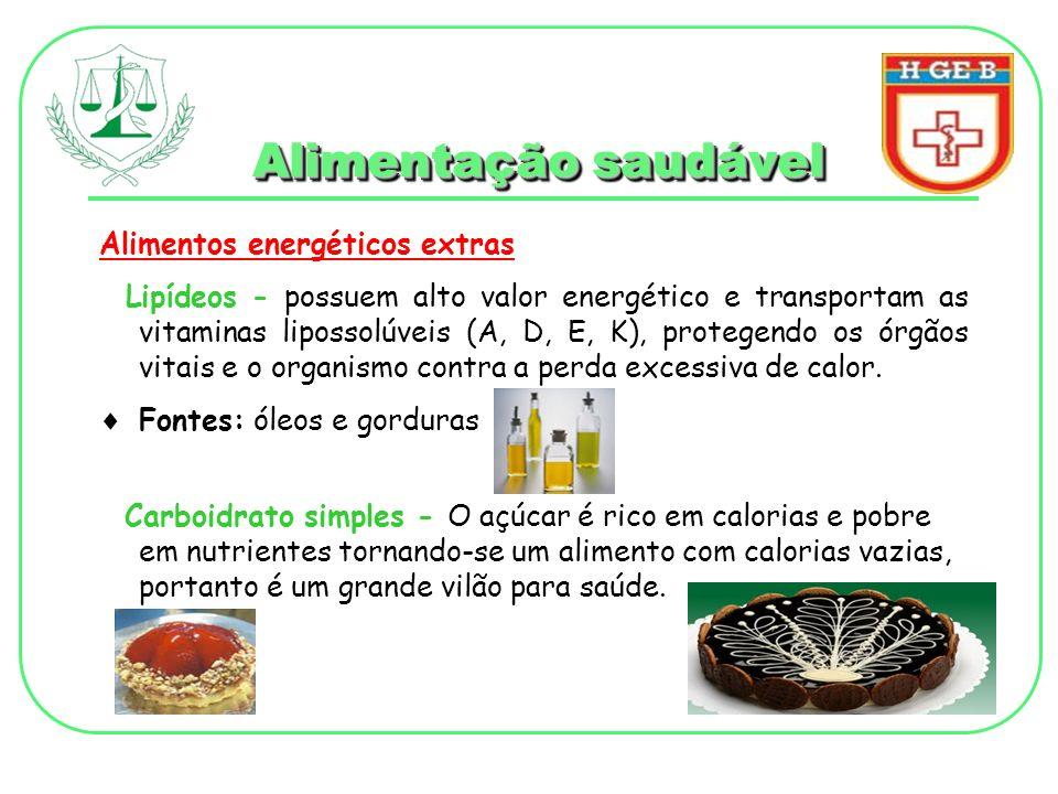 Alimentação saudável Alimentos energéticos extras Lipídeos - possuem alto valor energético e transportam as vitaminas lipossolúveis (A, D, E, K), prot