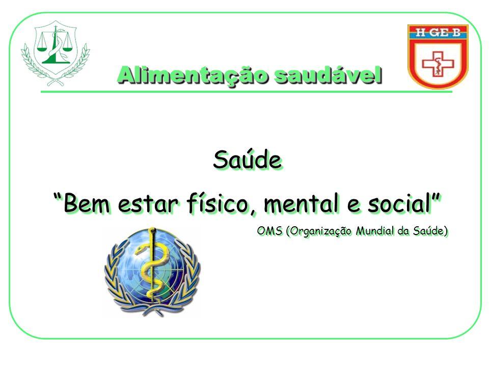 Saúde Bem estar físico, mental e social OMS (Organização Mundial da Saúde) Saúde Bem estar físico, mental e social OMS (Organização Mundial da Saúde)