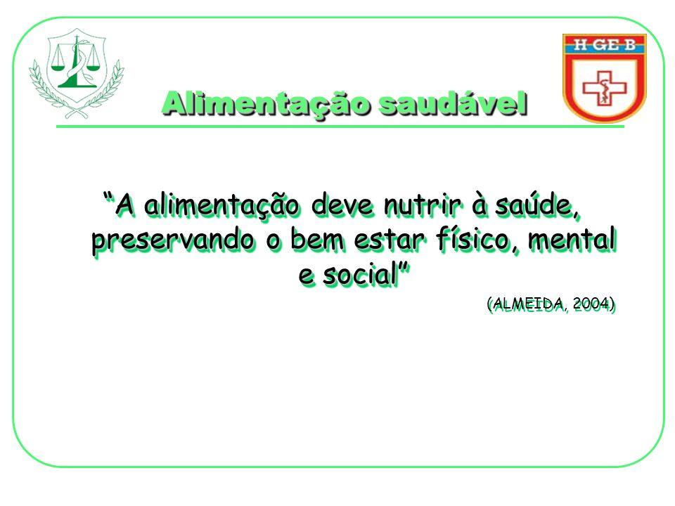 Alimentação saudável A alimentação deve nutrir à saúde, preservando o bem estar físico, mental e social (ALMEIDA, 2004) A alimentação deve nutrir à sa