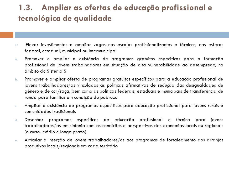 1.3 Ampliar as ofertas de educação profissional e tecnológica de qualidade g.